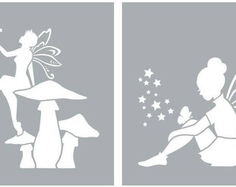 "Americana Decor, Fairies, 8"" x 8"", 2 Stencils Per Package, Reusable Stencils"
