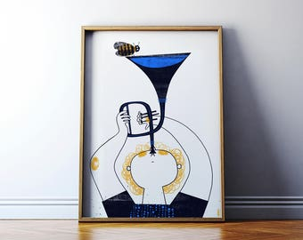 Little Trumpeter. Poster for kids. Music poster. High quality giclée print. 50/70 cm or A2 wall art poster.