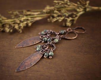 Faceted Agate Earrings • Long Dangle Earrings • Raw Copper Earrings • Oxidized Metal Drop Earrings • Gemstones Artisan Cluster Earrings