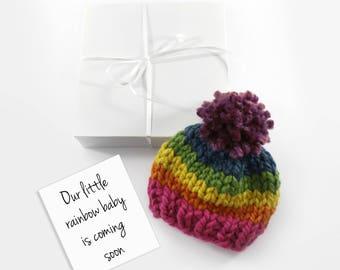 Rainbow Baby Pregnancy Announcement, Baby Birth Announcement, Grandparent Gift