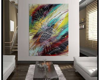 Large Wall Art Abstract Painting on canvas, Luxury Style Oil painting By Largeartwork