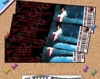 friday the 13th ticket birthday invitations invites invite evite halloween party camp crystal lake horror movies - Evite Halloween Party