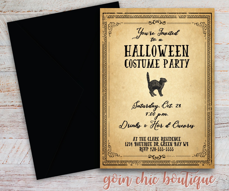 Vintage Halloween Invitation - Adult Halloween Party - Digital ...