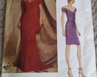 VOGUE 2608 Bellville Sassoon Size 14-16-18 Off-Shoulder Ruched Bodice Evening Gown Sewing Pattern ©2001 OOP