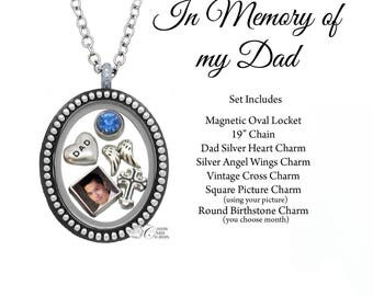 In Memory of my Dad Memorial Oval Floating Locket Set • Custom Picture Charm • Remembrance Necklace • Sympathy Gift - SET301