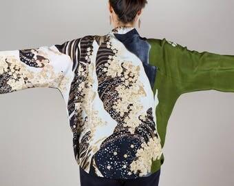 Kimono, Silk Kimono, Green Black Kimono Jacket, Kimono Cardigan, Kimono Jacket, Wave Haori Kimono, Summer Kimono, Short Kimono, Cardigan