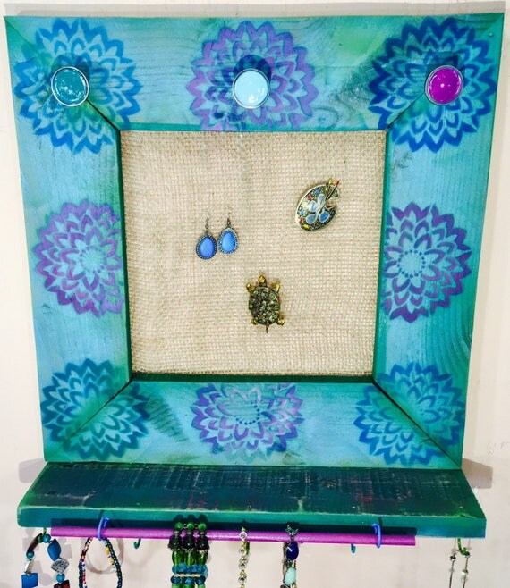Makeup organizer wall hanging jewelry storage floating shelves lotus flower wood art earring holder 5 scarf hooks, 14 necklace hook 3 knobs