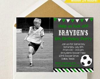 Soccer Photo Invitation // Soccer Invitation // Soccer Birthday // Soccer Party // Sports Invitation // Football Invitation // Customized