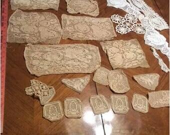 23 Pieces Vintage Crochet Cotton Lace Pictorial Doilies Afghan Squares