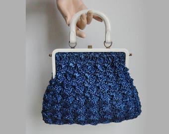 Bast Vegan Handbag With White Handle // Blue // Summer Bag