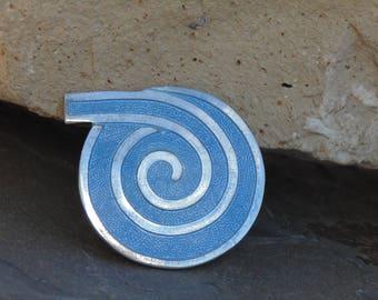 Margot de Taxco ~ Vintage Denim Blue Enamel and Sterling Silver Swirl Pin / Brooch