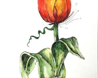 Tulip flower original art watercolor art painting pen and ink watercolor flower tulip hand painted