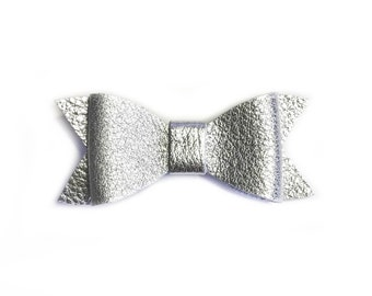 Baby Silver bow, leather bows, hair accessories, hair clips, baby bows, silver clip, leather, handmade, silver leather, clips, barrettes