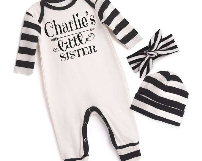 Personalized Newborn Girl Coming Home Outfit, Newborn Girl Outfit, Baby Girl Take Home Romper, Little Sister Outfit, Baby Headband, Tesababe