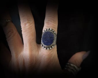 Large Ethnic Knuckle Ring, Stamped 925 Sterling Silver, Big Afghani Lapis Lazuli, Nomad Tribal Jewelry, Hippie Boho Fashion, Ring Size 8