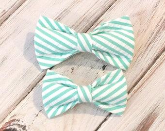 Aloe Seersucker Striped Dog Bow Tie, pet bow tie, collar bow tie, wedding bow tie, hunting