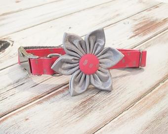 Pink and Silver Dots Collar Flower set, preppy, metal hardware, wedding flower, pet collar flower, collar flower