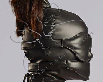 Leather Ponytail Hood + leather blindfold & muffle gag, Submissive ponytail mask + bondage gears, Strict BDSM bondage hood GIMP mask /Mature