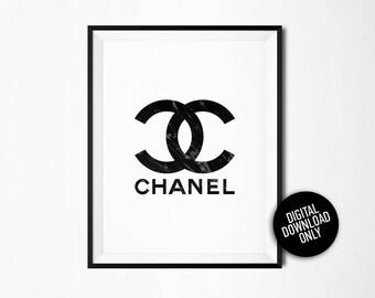 Marble Chanel logo, Coco Chanel print, Chanel Wall Art, Marble Fashion, Minimalist Poster, Chanel Logo Art, Coco Chanel, Chanel Printable