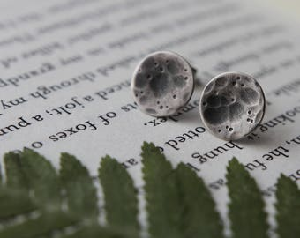 Full Moon Earrings. Moon Studs. Silver Posts. Moon Phases. Boho. Witch. Nature. Wild. Minimal. Sterling Silver.