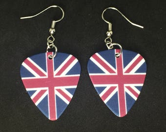 Union Jack Guitar Pick Earrings  British Flag Earrings  United Kingdom Flag  Guitar pick earrings  Dangle Earrings  Under 10 Custom Earring