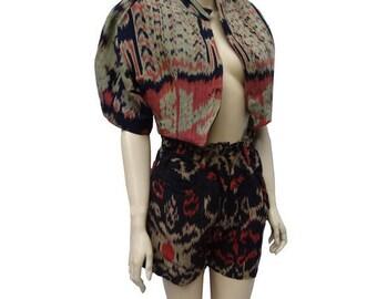 1980s BATIK high waist Shorts and cropped Top SET // 2 pieces set //80s KAKO india suit // size eu 38- uk 10 - us 6