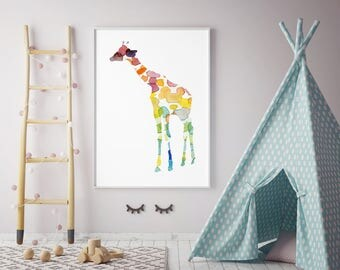 Giraffe Watercolor Painting - ArtPrint - Home Decor Wall Decor - Aquarelle illustration - Nursery Art - Animal Painting - Giraffe Art