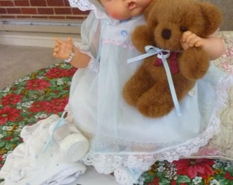 """1960s Ideal Thumbelina doll 19 """" w Ideal knob ~ clean & works! + 2 outfits, bear,bottle ~ adorable Ideal Toy corp. OTT 19 -weekend sale only"""