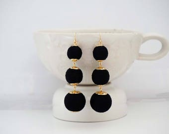 Black and Gold Ball Statement Earrings