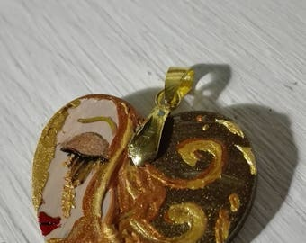 Klimt Fantasy pendant handpainted