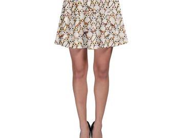 Star Wars Skater Skirt, Porg Skirt, The Last Jedi Skirt, Porgs All Over Print Skirt, Star Wars Skirt