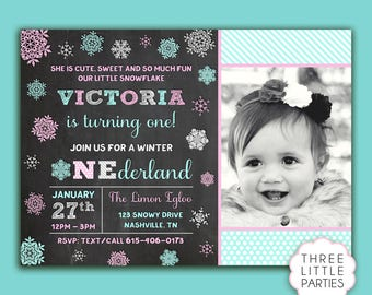 Winter ONEderland Birthday Invitation- Winter Wonderland Invitation - Chalkboard Snowflake Birthday  - Printable Invitation - First Birthday