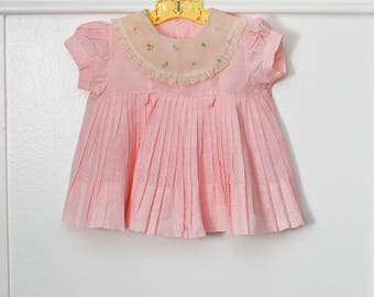 6 months: Pleated Pink Baby Dress with  Embroidered Nylon Collar