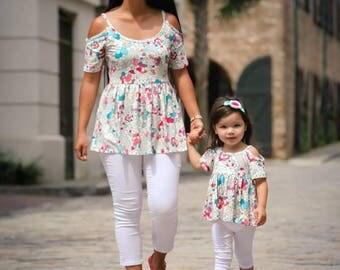 Womens (XS-3XL) Pop Art Open Shoulder Peplum Top. Mommy and Me Shirt. Daughter. Fall, Spring, Summer