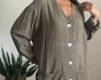 vintage boxy fit oversized plaid shell button collarless jacket blouse