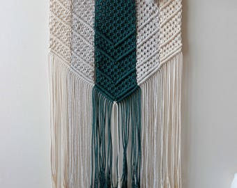 "Shop for a cause | Macrame Wall Hanging ""Charity"" - 100% coton rope & natural branche of coton"