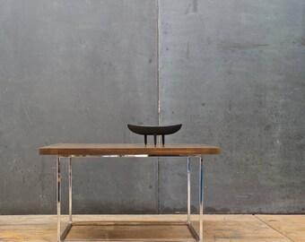 milo baughman thin line oak chrome cube coffee table post modern mid century minimalism nyc - Mad Men Sofa