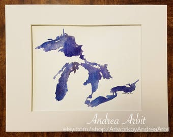 "8""x10"" Original Watercolor Painting - ""The Great Lakes in Blue-Violet II"""