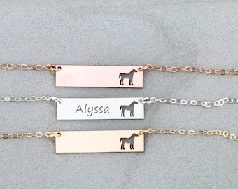 SALE • Horse Necklace • Custom Horse Jewelry • Charm Horse Pendant Necklace Bar Silver Animal Charm • Rodeo Jewelry Cowgirl Necklace Animal