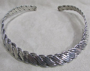Braided Sterling Silver Collar Necklace