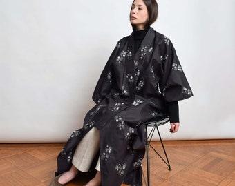 1950s Black Full Length Kimono 50s Vintage Meisen Silk Kimono Robe XS S M L XL