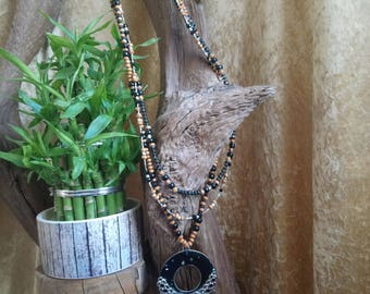 ethnic chic necklace black and silver wood necklace reserved