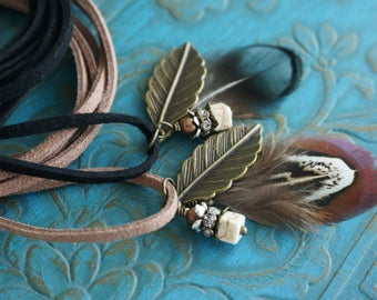 """Boho Jewelry """"Along With the Wind"""", Beachy Feather Brown Leather Wrap Bracelet Choker Necklace Armband Anklet Festival Hair Accessory Gift"""