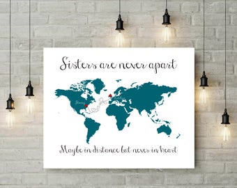 Gift For Sister | Personalized Gift for Sister | Big Sister | Sister In Law Gift | Long Distance Map Print | Gift from Brother Sister -54877