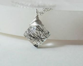 Tourmalinated Quartz Necklace , Black Quartz Necklace, Black Rutilated  Quartz, Sterling Silver Necklace, Tourmalinated Pendant