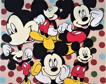 """Set of 6 - 6 """" Mickey Mouse Die Cuts Full Body w/6 different Poses"""