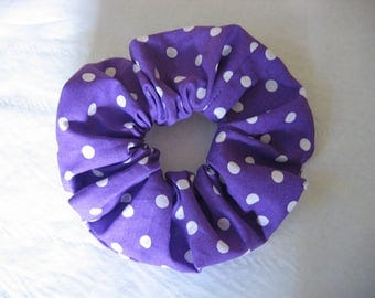 scrunchie/hair scrunchie/purple scrunchie/polka dot scrunchie/hair accessory/hair tie/retro hair scrunchie/purple polka dot hair scrunchie