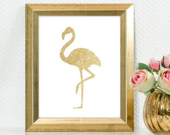"Gold Glitter design Pink Flamingo,  5x7"" 8x10"" incld., DIGITAL PRINTABLE File, Gold Sparkle Design Silhouette"