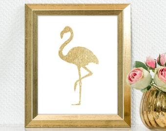 "Gold Glitter design Pink Flamingo,  5x7"" 8x10"" incld., DIGITAL PRINTABLE File, Gold Sparkle Design Silhouette"