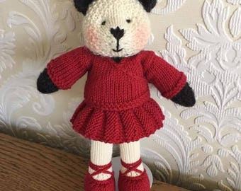 Hand Knitted Ballerina Panda with Cardigan